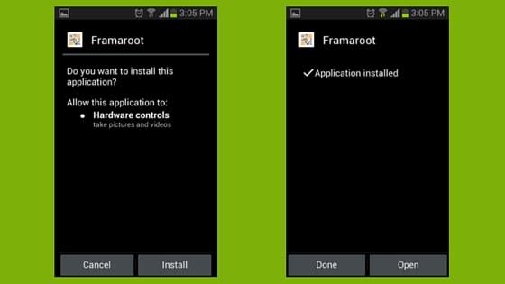 Framaroot - Application Installed screen